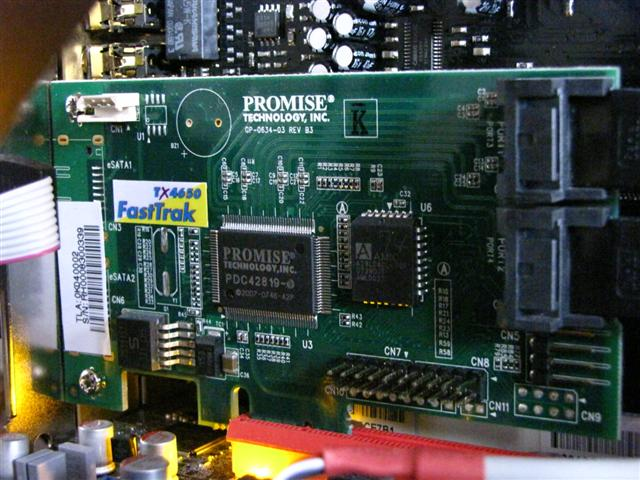 This is a Promise TX4650 SATA/SAS RAID card.